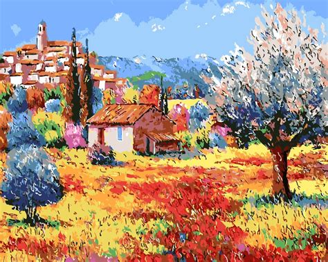 rural countryside oil painting digital oil painting home