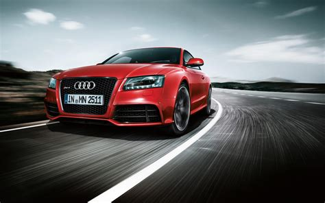 Red Audi Car On Road Front Side Wonderful Pics