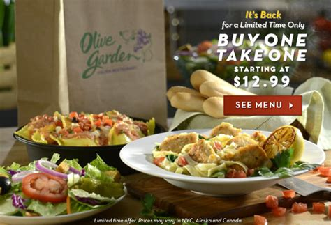 olive garden take out olive garden 10 30 buy one entree get one free to