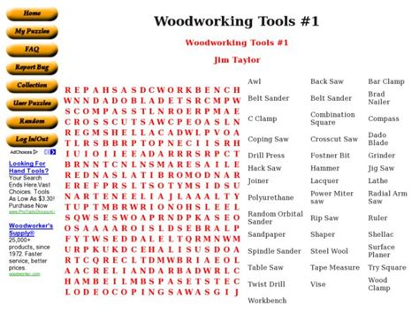 woodworking tools  worksheet    grade lesson planet