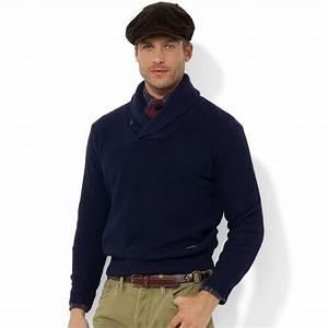 Lyst - Polo ralph lauren Shawl Collar Cotton Sweater in ...