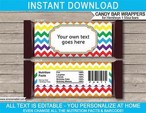 Rainbow hershey candy bar wrappers personalized candy bars for Personalized chocolate wrappers template