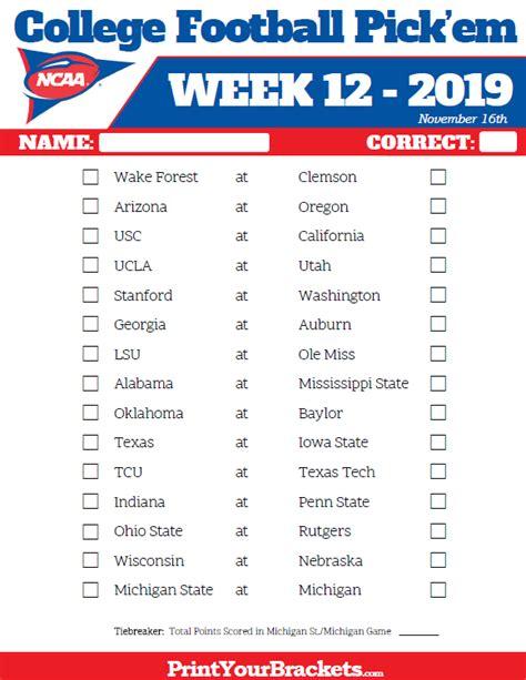 Office Football Pool Week 3 by Printable Week 12 College Football Em Sheets 2019