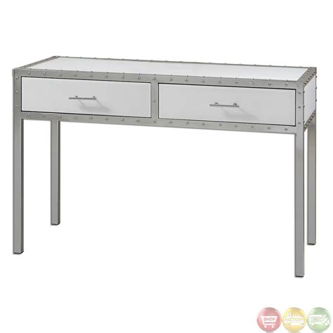 uttermost console tables bryton white riveted polished chrome console table