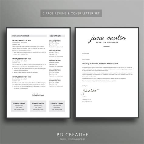 Boutique Resume by Professional Resume Template Sets Bd Creative Resumes