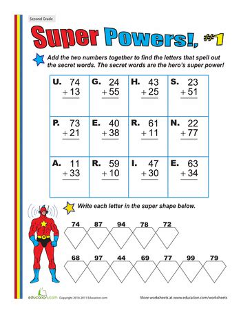 super powers two digit addition 1 wonder bd party worksheets for kids math