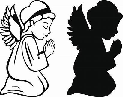 Angel Vector Praying Silhouette Clip Clipart Vectors
