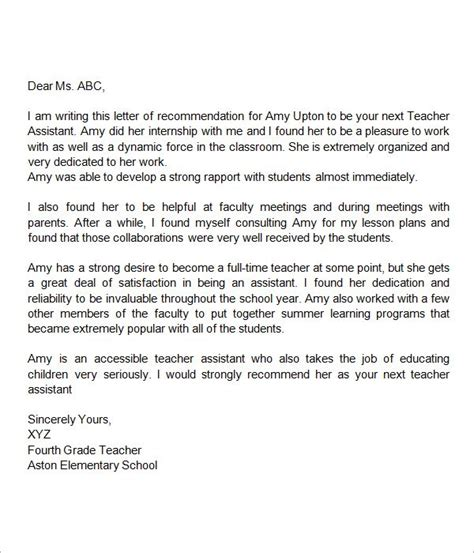 recommendation letter for assistant 125 | 807ed3b456c0677031edd6beb0c8c5dd letter for teacher teacher assistant