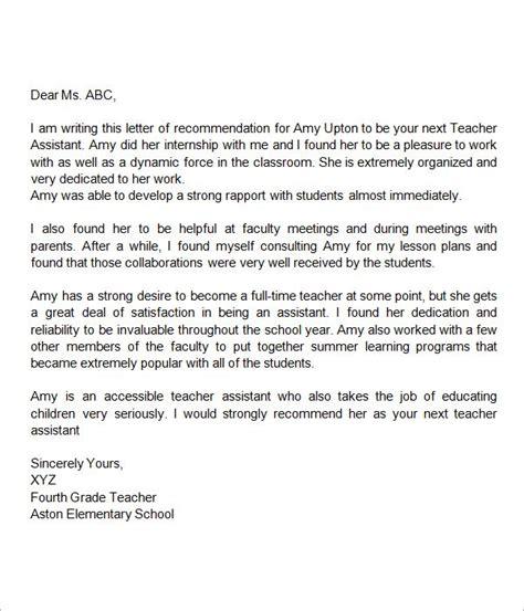 recommendation letter  teacher assistant