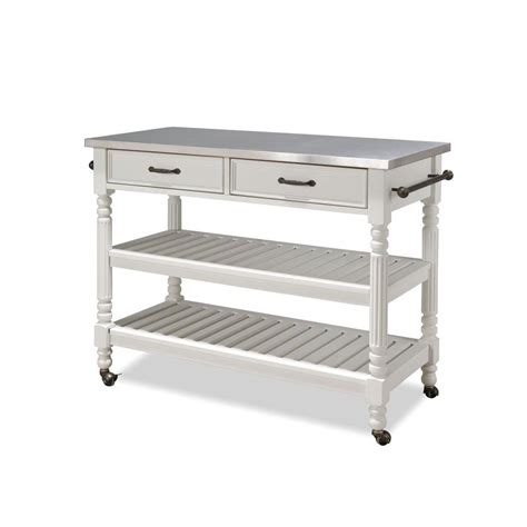 stainless steel kitchen island home depot home styles white kitchen cart with stainless top 9399