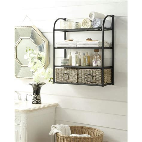 bathroom storage rack 4d concepts 24 in w storage rack with two baskets