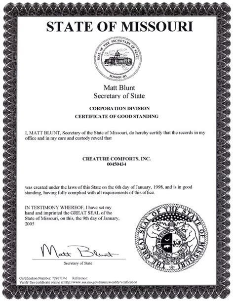 Certificate Of Good Standing by Corporation In Good Standing