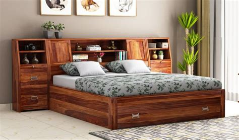 buy harley storage bed  bedside king size teak