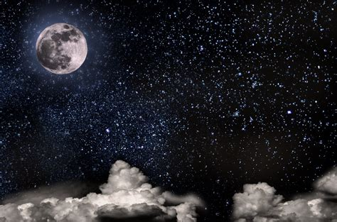Nightly Sky With Large Moon Free Stock Photo