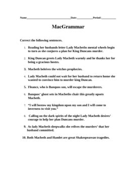 macgrammar macbeth grammar worksheet by judy hill tpt