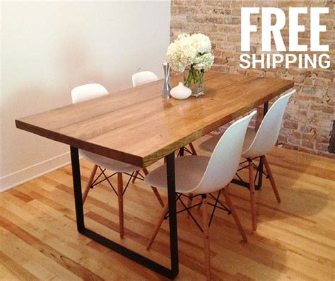 dining table kitchen table metal base reclaimed  ateliereben
