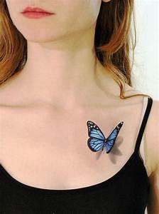 Kleiner Schmetterling Tattoo : 3d blue butterfly tempor re tattoo sieht aus wie von tattoomint tattoo pinterest ~ Frokenaadalensverden.com Haus und Dekorationen