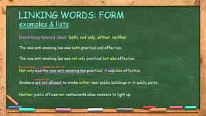How To Use Linking Words  For Example  First  Second
