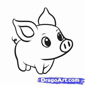How to Draw a Simple Pig, Step by Step, Farm animals ...