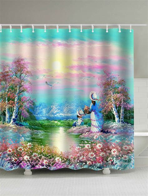 painting shower garden painting shower curtain