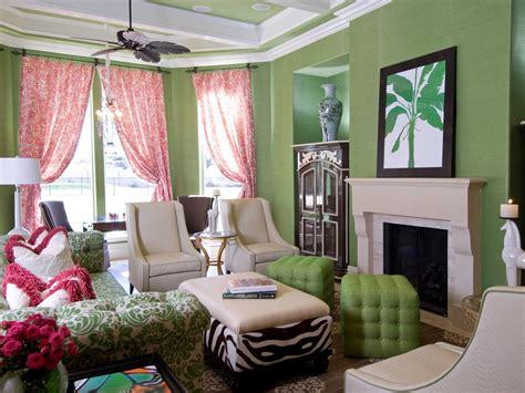 green livingroom pink and green living room hgtv