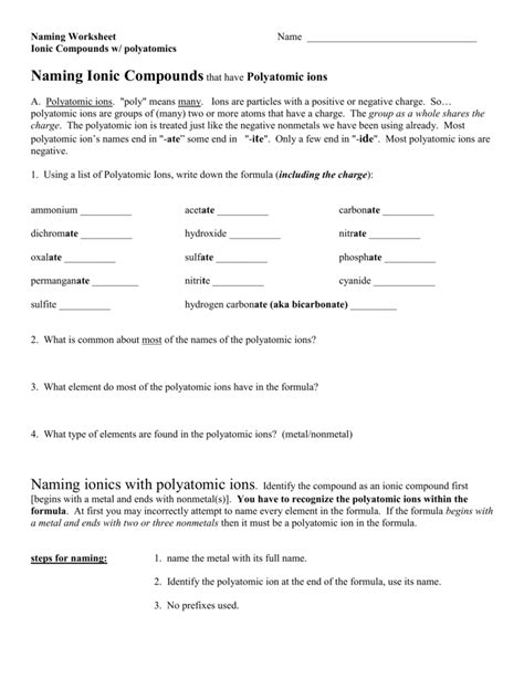 worksheets naming ionic compounds worksheet one
