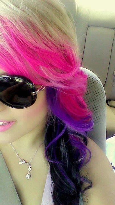 Black And Pink Hairstyles Purple And Pink Dyed With
