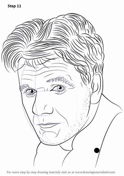 Draw Gordon Ramsay Drawing Step Famous Tutorials
