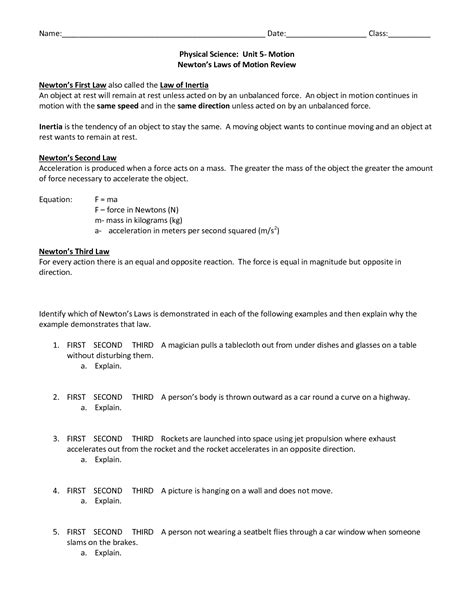 images  laws  motion worksheets newtons