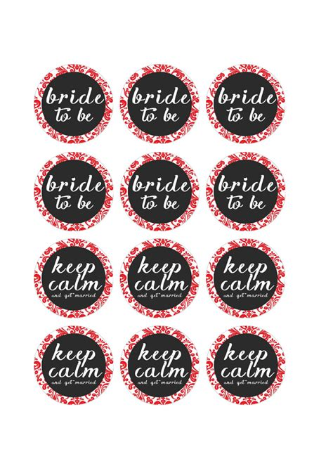 Free Printable Pdf Bridal Shower Cupcake Toppers Red