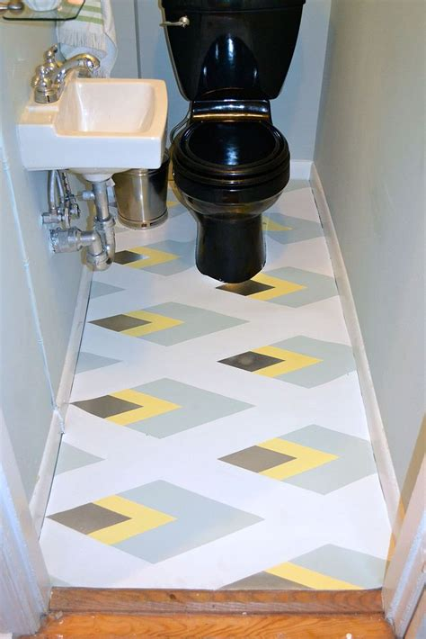hometalk painted linoleum bathroom floor