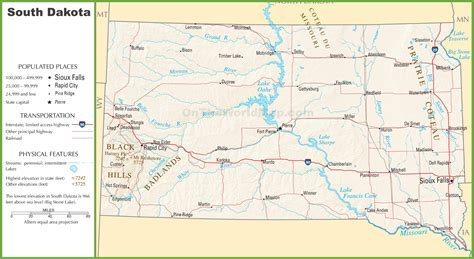 dakota map south highway state cities road highways interstate towns usa rivers lakes shows ontheworldmap