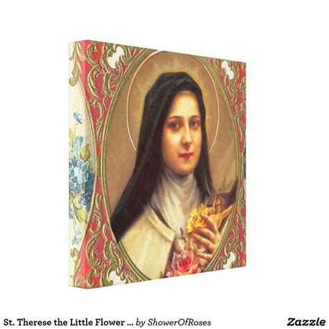St Therese the Little Flower w/pink roses VINTAGE Canvas