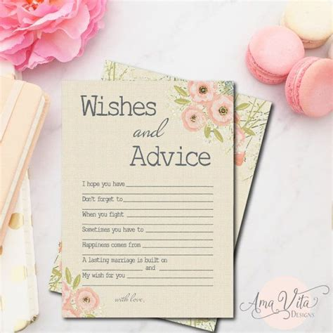 Marriage Advice Quotes For Bridal Shower by Wishes For Bridal Shower Printable Instant