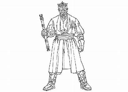 Maul Darth Coloring Pages Wars Star Cartoon