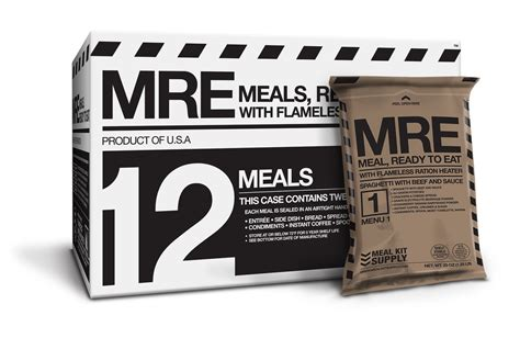 MRE 12 Pack 3 Course with Heaters   Meal Kit Supply