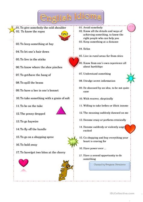 idioms  english esl worksheets  distance learning