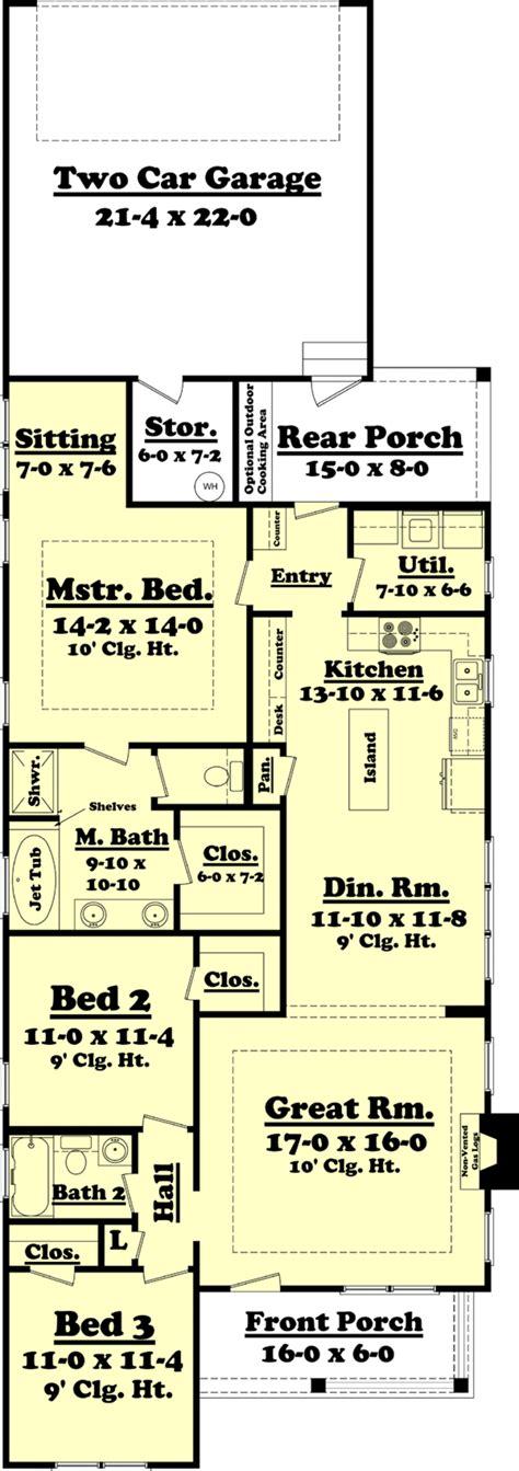 craftsman open floor plans cottage style house plan 3 beds 2 baths 1550 sq ft plan