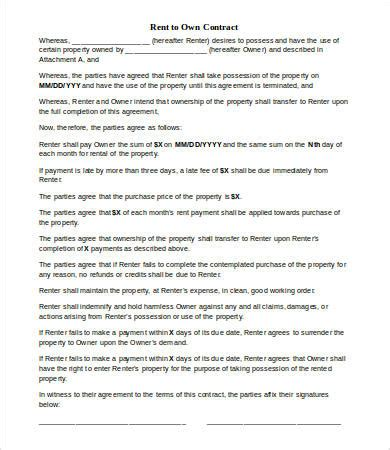 Rent To Buy Contract Template by Rent To Own Agreement Template Emsec Info