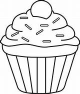Cupcake Sprinkles Drawing Clipart Single Coloring Cute Outline Cupcakes Template Pages Fruit Cookies Visit sketch template