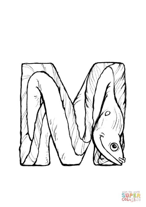M is for Moray coloring page from Animals Alphabet