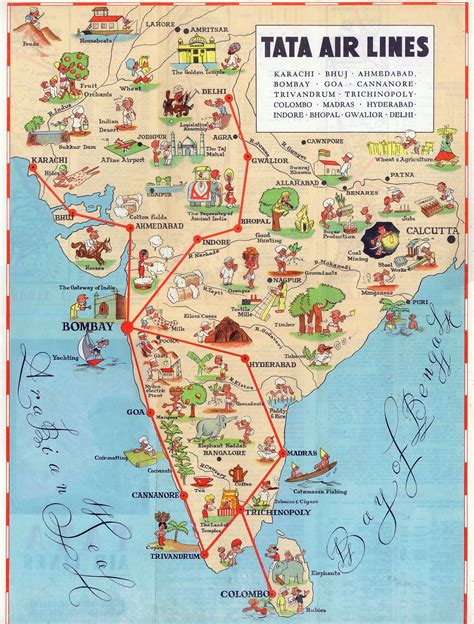 Detailed Tourist Illustrated Map Of India  India Asia