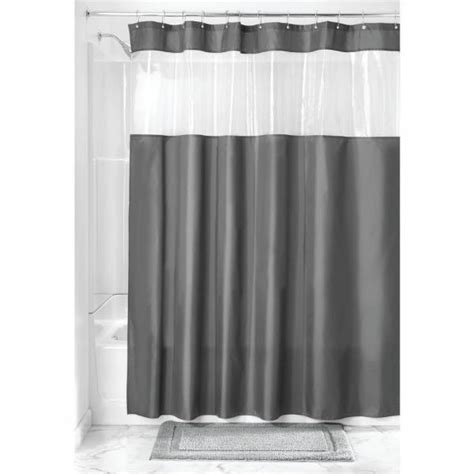 interdesign fabric shower curtain  clear window  bathroom    charcoalclear