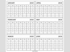 Download Printable 6 Month Calendar 2018 19 January