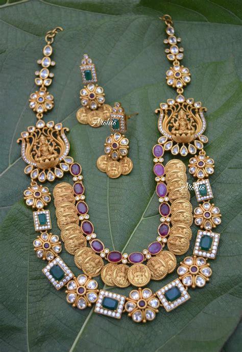 multilayer antique necklace  side locket south india