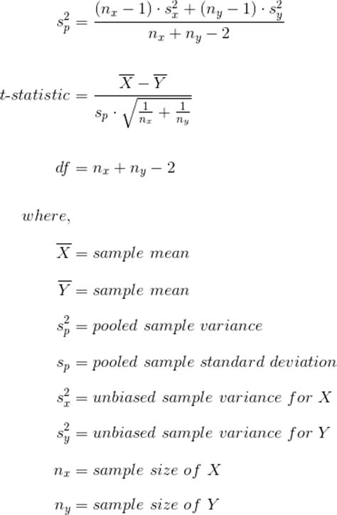 independent samples t test formula