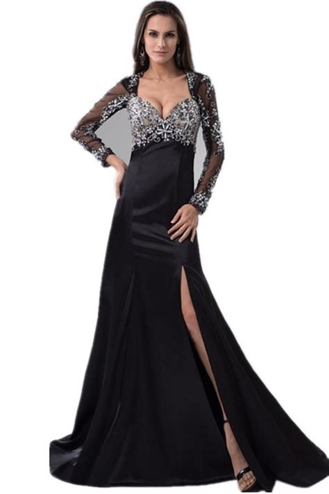 Charming Queen Anne Neckline Long Sleeve Crystal Beaded ...