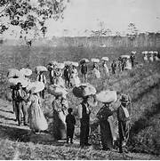 Slaves returning from a cotton field in the American South  early      Slavery In The South