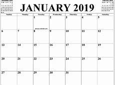 January 2019 Calendar PDF calendar weekly printable