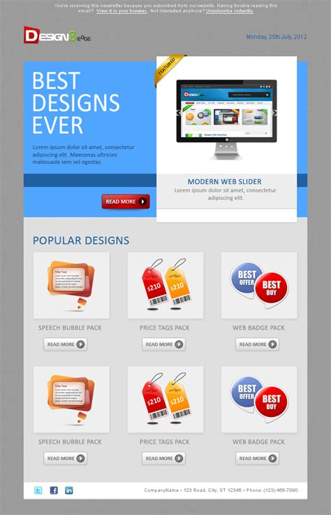 designing an email template sleek email template design design3edge